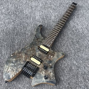 in stock EART headless portable electric guitar, charcoal grilled maple 5 spell neck, ASH body rotten wood grain maple veneer guitar.