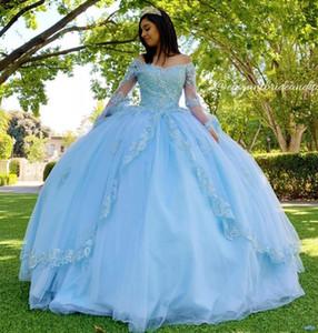 Sky Blue Spitzen Perlen Jahrgang Quinceanera Abschlussball-Kleider mit V-Ausschnitt mit langen Ärmeln Ballkleid-Tulle-Abend-Partei des Bonbon-16 Kleid Roben de Soiree