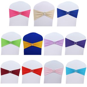 50pcs Lot Stretch Wedding Chair Cover Band With Buckle Slider Sashes Bow Decorations Wholesale