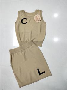 2020 новый дизайн женщин без рукавов o-образным вырезом 3D цветок лоскутное письмо логотип вышивка ледяной шелк вязаный растениеводство топ жилет и bodycon юбка-карандаш
