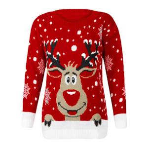 Sweety Christmas Reindeer Stampato Maglione Le donne popolari O-Collo manica lunga Womens Autunno Inverno partito di festa vestiti casuali