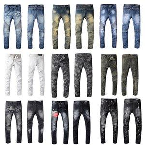 New Balmain Homens afligido Ripped Jeans Fashion Designer reta Calças Jeans Causal Denim Streetwear Estilo Jeans Mens fresco
