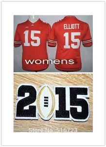Outlet- Free Shipping Womens NCAA Factory Ohio State Buckeyes 15 Ezekiel Elliott Red College Football Jerseys Size S-XL 2015 bcs
