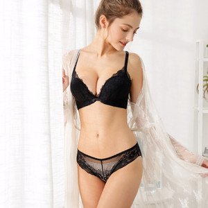 Sexy Lingerie Women Lace Floral Embroidery Underwear Front Button Push Up Bra Set Wire Free Adjusted Bralette Panty Set