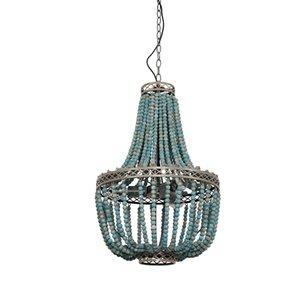Modernes Loft Vintage blau Holzperlen hängende Lampe E27 LED-Lampe Industrie Dekor Lichter für Wohnzimmer Hotelküche AC 90-260V hängen