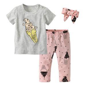 3 Pcs Set Baby Girl Clothes Summer Newborn Sweet Tube Printed T Shirt+Pants+Headband Toddler Infant Girls Outfits Kids Clothing