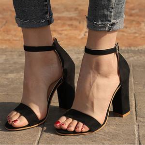 Kadınlar Sandalet Yaz Ayakkabı Flock Blok Topuklar Toka Kayış Bayanlar Klasik Sandalet Kadın Moda Yüksek Topuklar Zapatos De Mujer