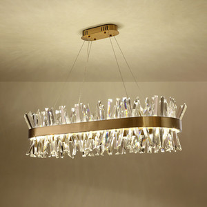 Modern Gold Long Crystal Metal LED Pendente Lampada a sospensione Illuminazione Soggiorno Home Hotel Chandelier Art Fixture PA0606