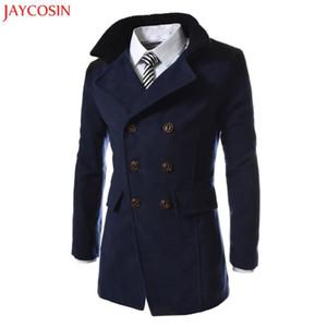 JAYCOSIN Veste Hiver chaud Polyester Trench long Outwear patchwork de préparation à la Smart Button Pardessus gris, noir, bleu marine z1105