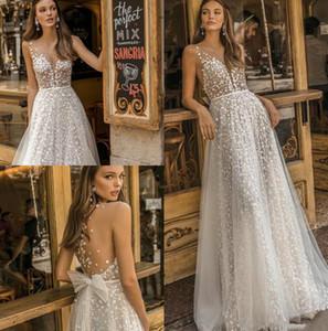 Muse par Berta 2020 Nouveau robes de mariée en dentelle diaphane cou Appliqued robe de mariée Une ligne de plage Boho Simple See Through Robe de mariée avec nœud