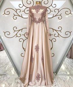 2020 Elegante Islam Muslim-Abend-Kleider mit langen Ärmeln hohen Ansatz einer Linie Spitzeapplique-Abendkleid plus Größe arabische Kaftan Partei-Kleider
