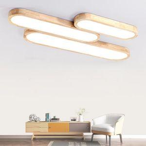 Control remoto Luces de techo Lámparas de techo de madera macaron decorativas paneles acrílicos para la sala de estar Dormitorio lámpara