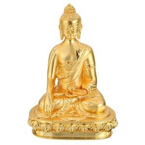 Decor budista Início pequeno Sakyamuni Buddha Statue bronze dourado 8 cm de altura Handwork Esculpido fontes do ofício Golden Buddha