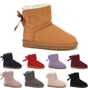 UGG boots 2020 Детская обувь из натуральной кожи снега сапоги для малышей Boots луками детей Обувь для девочек снега сапоги