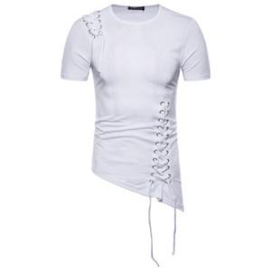 Primavera Mens del progettista delle magliette Moda Slim Fit irregolare design Camicie Uomo spalla treccia design Abbigliamento Uomo