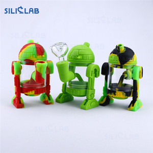 "SILICLAB Silicon Bongs Water Pipe Dab Rig 5.3"" Robot silicone Pipes Smoking Rigs Wax Pipes huile Heady refroidissent Bong Heady Beaker barboteur"