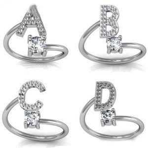 Regalo del partido de la moda 26 letras de plata anillo para las mujeres Rhinestone Abrir A-Z Letra inicial dedo de la joyería Anillos Anillo de compromiso Mujer