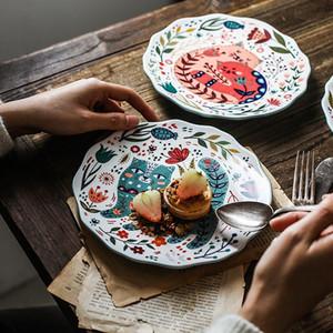 8 pouces peint à la main Assiette Chat dîner sous vitrage Vaisselle en céramique Dîner Dessert Plateau Fleur Kitten vaisselle Micro-onde Coffre