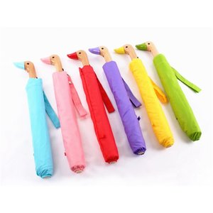 Duck Shaped Wood Handle Umbrella Wholesale Sunny And Rainy Umbrella Folding Sun Parasol party favor LJJA3415-2