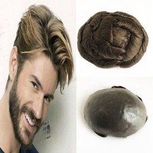 Erkekler Full Pu İnsan Saç Erkekler peruk Yenileme Sistemi V Döngü Skin 6 * 8 İnç Dalga Düz Erkekler Peruk İçin İnce Cilt peruk