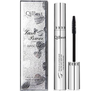 QiBest Буши Mascara Waterproof Non-Smudge Силиконовые кисти Rimel 3d Колоссальный Curling Mascara Black Fiber Eye Makeup Silver Tube
