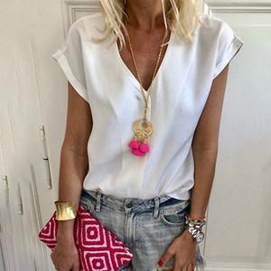 Mulheres T-Shirt Chiffon Tops de Manga Curta Simples Tshirt Branco Sólida Moda Casual Vintage Classe Modis Novo 2019 D30
