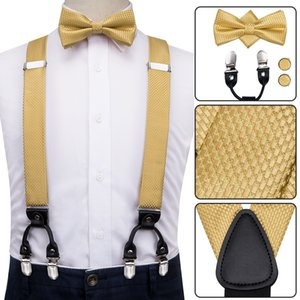 BD-3026 bretelle di cuoio stabilita di seta degli uomini adulti metallo 6 clip Bretelle Moda Solid Gold Men elastico Wedding Suspender Men