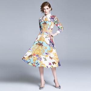 2020 Yeni Moda Bayan Pileli Elbise, Güzel Retro Palace Style Kadın Midi Gömlek Elbise, Kızlar Güzellik Baskı Etekler