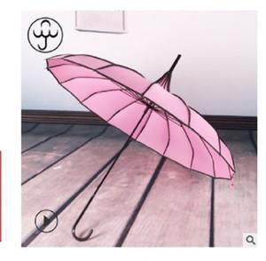 2020 venda 16K longo e quente lidar com pólo reta nupcial guarda-chuva ao ar livre guarda-sol e à prova de vento guarda-chuva Baobian pagode guarda-chuva