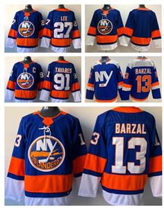 Скидка Дешевые купить вентилятор одежды трикотажные, Нью-Йорк Айлендерс 91 Таварес 13 BARZAL 27 LEE Hockey трикотажные рубашки TOPS спортивные майки