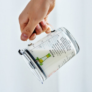 400ml di misurazione tazza di vetro Kid latte Laureato Bottiglia Coppe Student Acqua Birra tazze di caffè bambini del fumetto di tazza di latte con il coperchio GGA3236-6