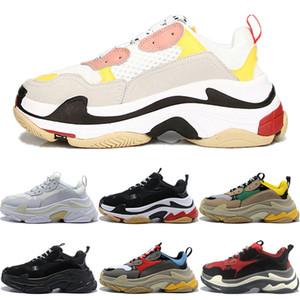 Triple S кроссовки на платформе для мужчин и женщин Chaussures Paris 17FW тройной черный крем желтый красный Повседневная обувь дизайнерская обувь 36-45