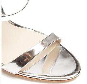 Горячие Продажа-нт кожи ромбовидный узор Beed шпилек высокой пятки твердые украшения Sophia Webster сандалий серебра 34-42