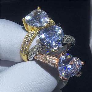 3 Farben Herzform ring Gelbgold Gefüllt Klar 3 T Sona Cz Stein Engagement Hochzeit band ring für Frauen Braut Finger Schmuck