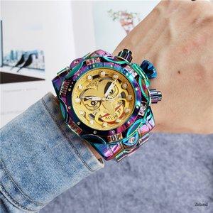 INVICTA 남성 디자이너 시계 광대 시리즈 골든 명품 패션 시계 시계 큰 다이얼 자동 날짜 relógio 드 LUXO 인빅타