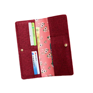 Lovely travel passport cards holder PU cover men women print bank cards organizer storage long wallet