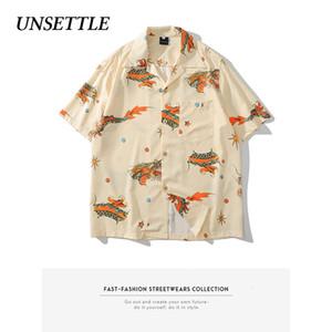 Desestabilizar 2020SS Homens Verão Dragão chinês Imprimir Hawaiian Shirts Hip Hop Streetwear Moda Casual Botão de manga curta de Down Tops
