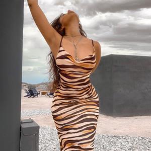 여름 해변 스타일 얼룩말 줄무늬 인쇄 여성 민소매 맥시 슬립 드레스 우아한 레이디 새로운 핫 섹시 파티 Clubwear 복장