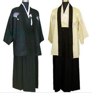 Costume de kimono ethnique pour hommes Costume de guerrier japonais Uniforme de scène d'homme costume photo Vêtements 2 couleurs
