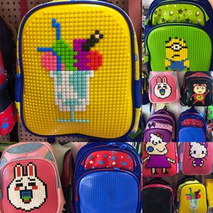 pupil schoolbag Jigsaw backpack puzzle parent-child hands-on game puzzle personalized backpack lego bag