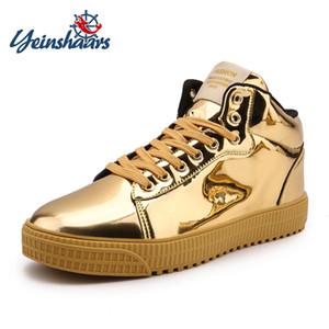 YEINSHAARS NUEVA alta tapa del cordón de cuero con Patente Casual las zapatillas de deporte de los hombres caliente Casual Tamaño piel Pisos Plus 36-47