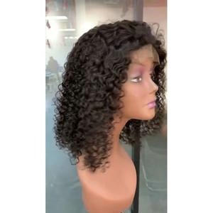 Передний парик индийский Raw Virgin Lace волос 13X4 Боб Deep Wave Kinky завитые Боб Парик фронта шнурка 8-16inch Девы волос Natural Color Short Bob