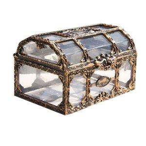 Caja del tesoro Caja de almacenamiento de plástico Cofre del tesoro pirata Cofre para gemas Coleccionables Joyas Caja de dulces de cristal