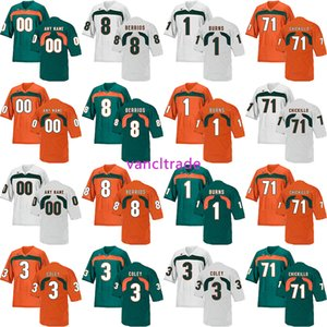2019 NCAA Футбол Майами Ураганы 8 Берриос 1 Ожоги 71 Чикилло 3 Трикотажные изделия Coley