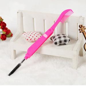 Nouveau portable Brosse Sourcils pliant double tête de brosse Cils Extension peigne Outils cosmétiques Corlor aléatoire
