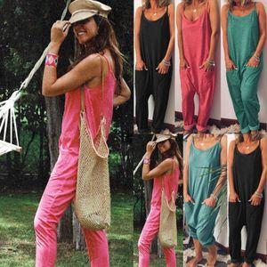 Casual Womens Cotton Romper Jumpsuit Overalls Plus Size Playsuit Ladies Summer Strap Rompers Bodycon Long Bodysuit Trousers