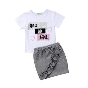 Mode Enfant Enfants Bébé Filles Lettre D'impression Tops T-shirt Mini Jupes Robe Set Outfits Vêtements