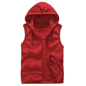 Mens Sleeveless Hoodies Fashion Casual Hooded Sweatshirt Men Hip Hop Hoodie Men 'S Sportswear High Quality 6 Color Trend Size M -Xxl