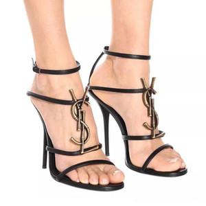 2020 sapatos com caixa marca de sapatos nova mulher sexy Verão da bracelete Rivet sandálias de salto alto Pointed toe Moda Luxo Individual salto alto 10