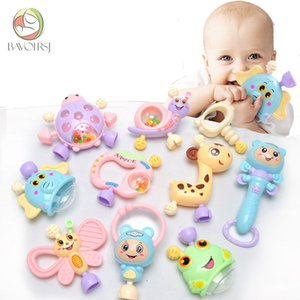 6pc-10pc set Colorful Montessori Toys Teething Kids Educational Crib Mobiles Baby Teether For Girls Waldorf Rattle Toy T0051 Q190604